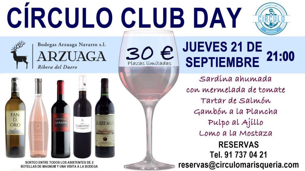 Próximo #CirculoClubDay Septiembre 2017 con Arzuaga